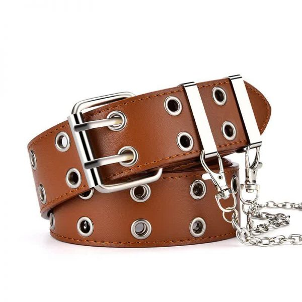 E-girl E-boy Gothic Pink Leather Belt with chain 76