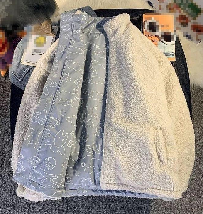Harajuku E-girl Double Sided Winter Lambswool Imitation Jacket 48