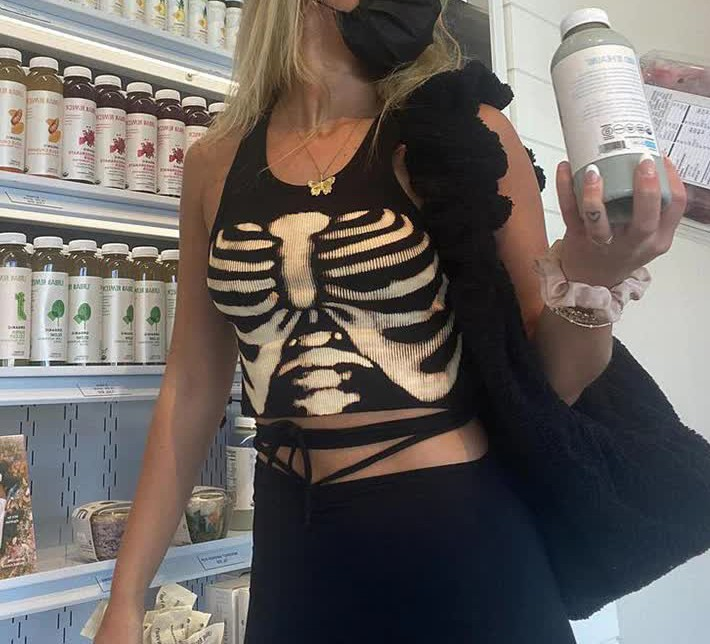 E-girl Gothic Punk Y2K Aesthetic Crop Top  with skeleton print 53