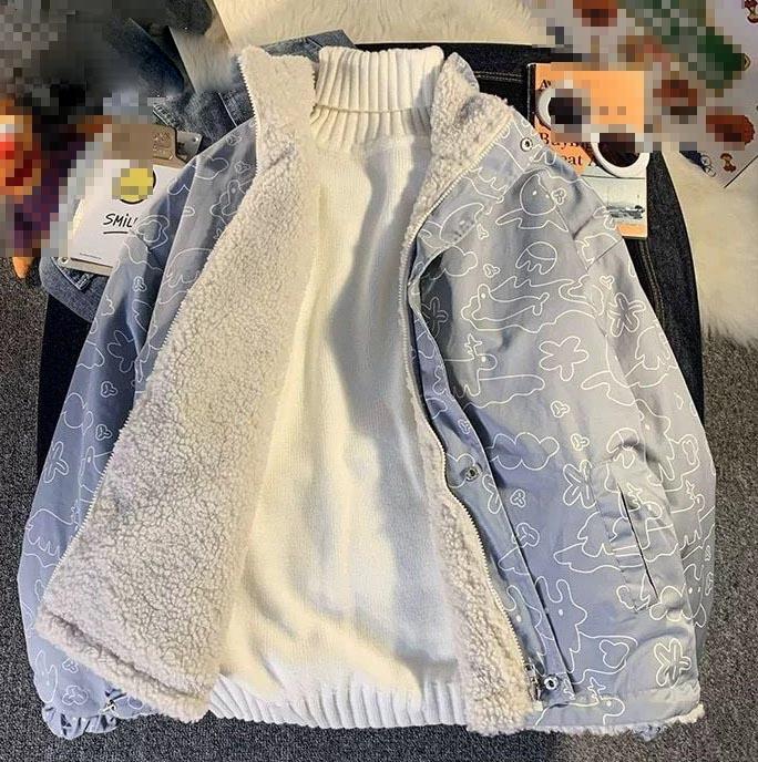 Harajuku E-girl Double Sided Winter Lambswool Imitation Jacket 46