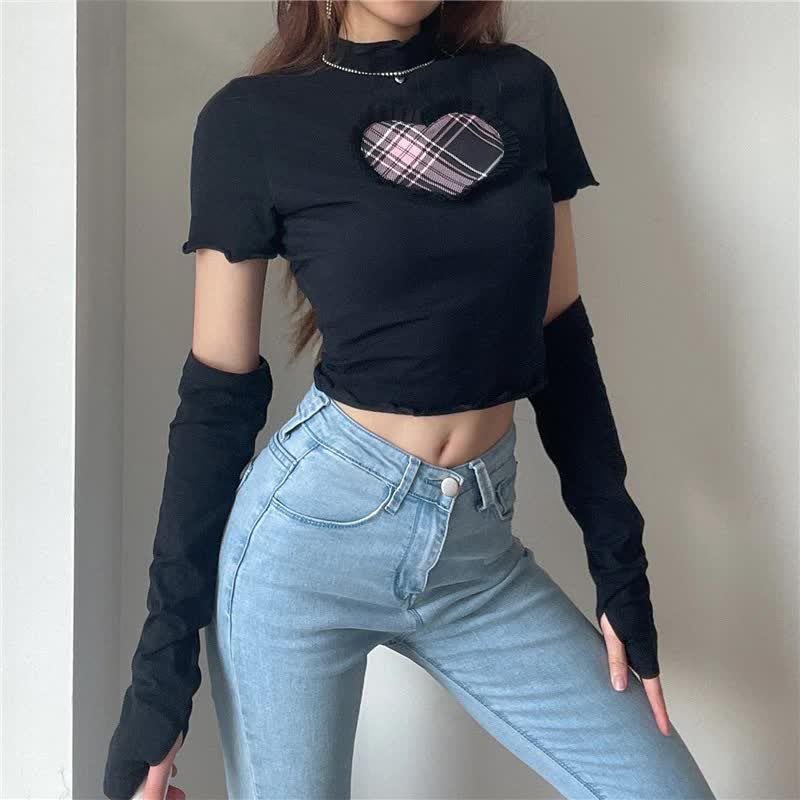 E-girl Gothic Y2K Crop top with Plaid Heart and Ruffles 53