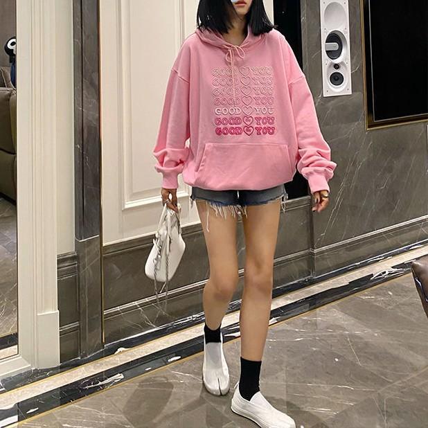 E-girl Soft girl oversized Harajuku hoodie with Good for You embroidery 43