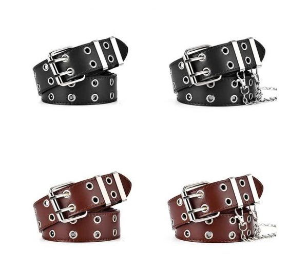 E-girl E-boy Gothic Pink Leather Belt with chain 67