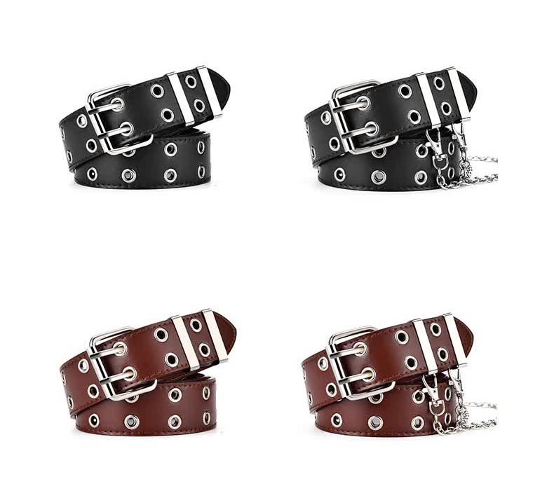 E-girl E-boy Gothic Pink Leather Belt with chain 50