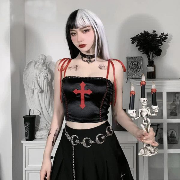 E-girl Gothic Crop Top with cross 66