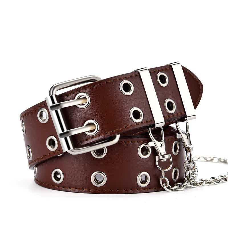 E-girl E-boy Gothic Pink Leather Belt with chain 54