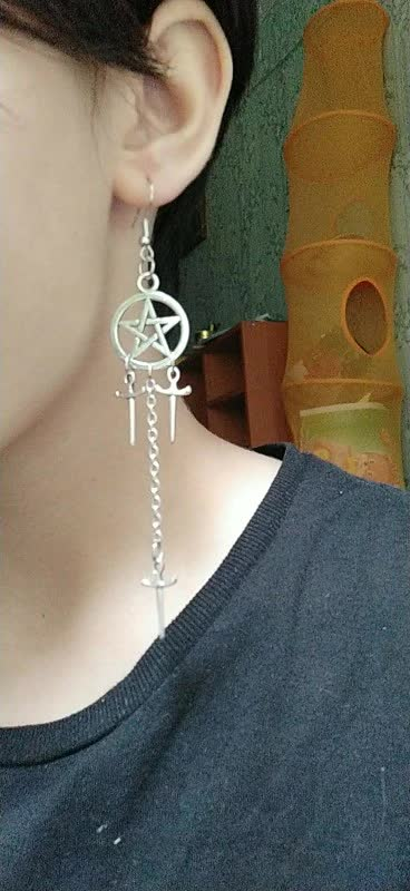 Gothic E-girl E-boy Punk Pentagram Swords Earrings 47