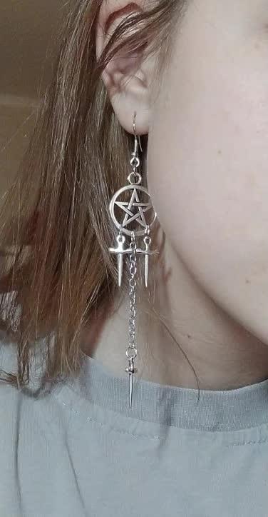Gothic E-girl E-boy Punk Pentagram Swords Earrings 46