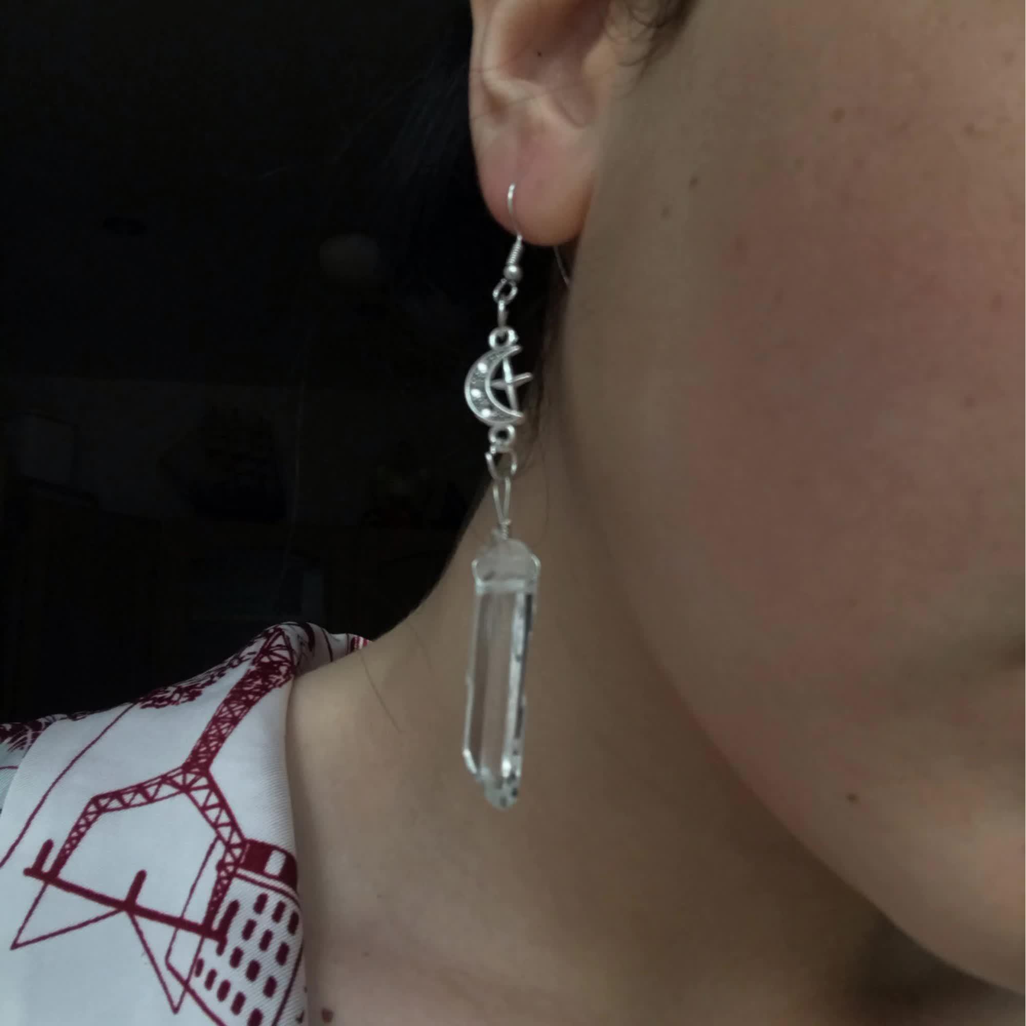 E-girl E-boy Gothic Clear Quartz and Crescent Moon Earrings 42