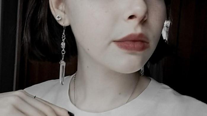 E-girl E-boy Gothic Clear Quartz and Crescent Moon Earrings 43