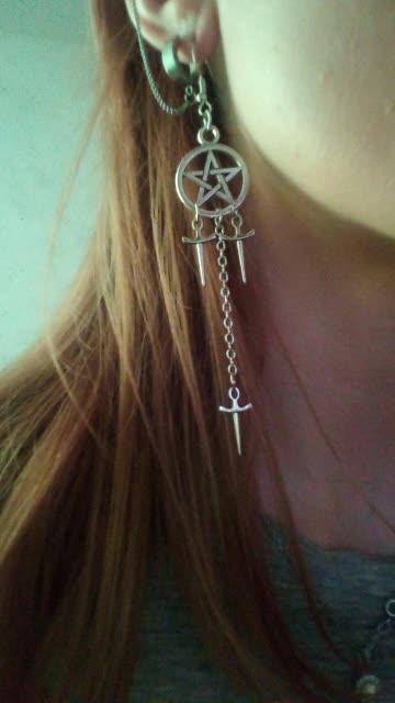 Gothic E-girl E-boy Punk Pentagram Swords Earrings 49