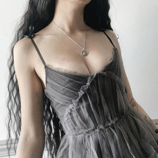 E-girl Pastel Goth Aesthetic Elegant Dress with Mesh 3