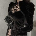 Gothic E-girl Vintage Elegant Black Velvet Dress 1