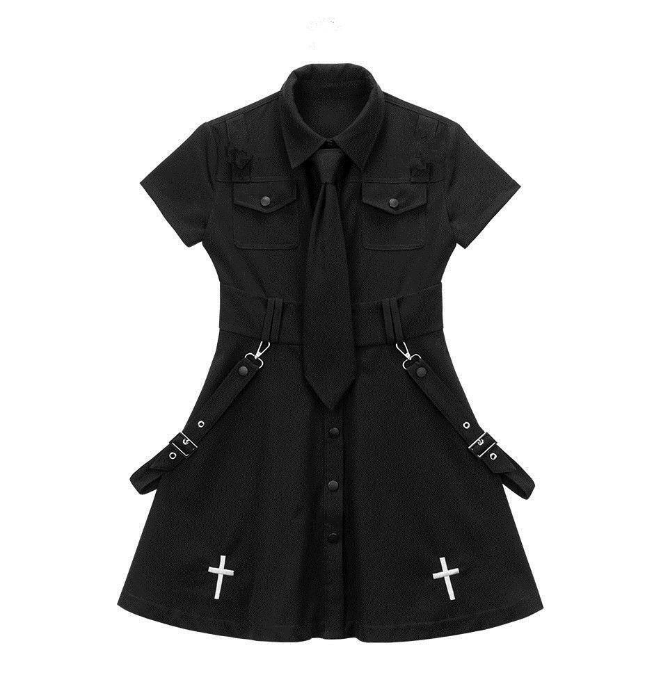 E-girl Pastel Goth Harajuku Dress with cross 51