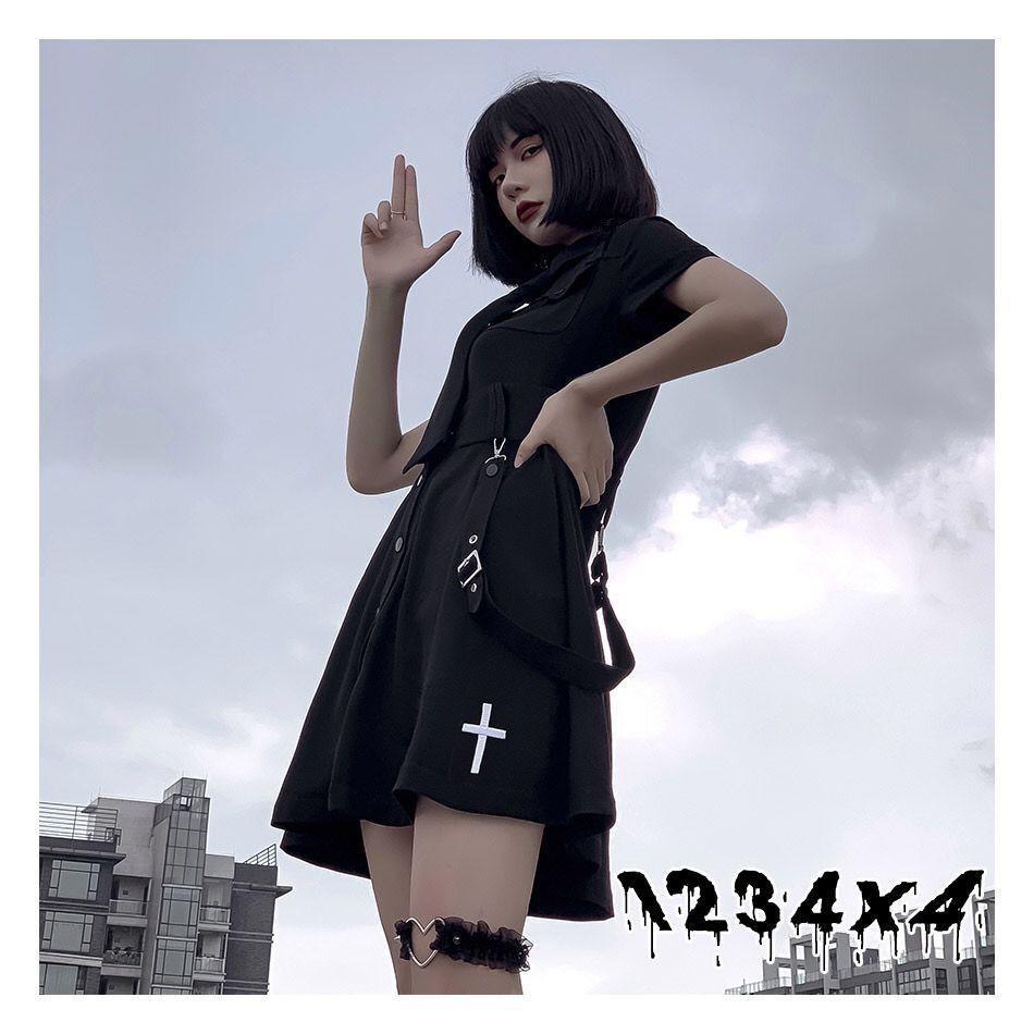 E-girl Pastel Goth Harajuku Dress with cross 43