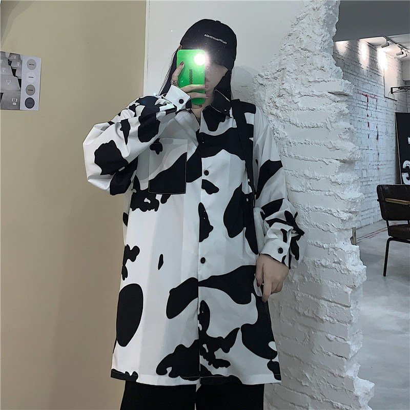 E-girl Harajuku Grunge Cow Print Loose Shirt 42