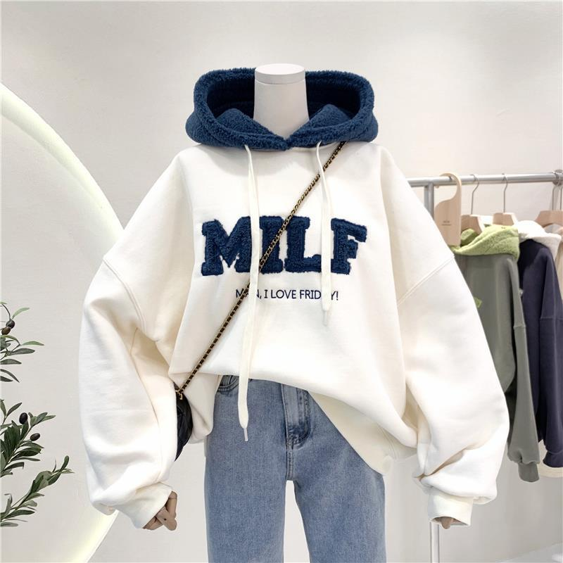 Harajuku E-girl Streetwear Thick Hoodies with Letters 51