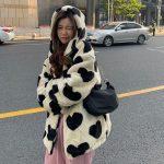 Harajuku Kawaii E-girl Heart Print Plush Jacket 6