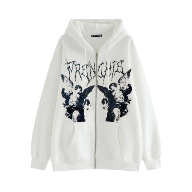 Harajuku E-girl Gothic Hoodies with Gothic VIntage Angel Print 45