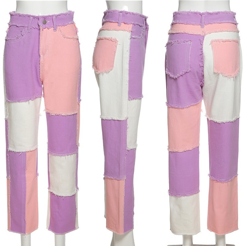 Y2K E-girl Aesthetic Cowboy Patchwork Jeans 48