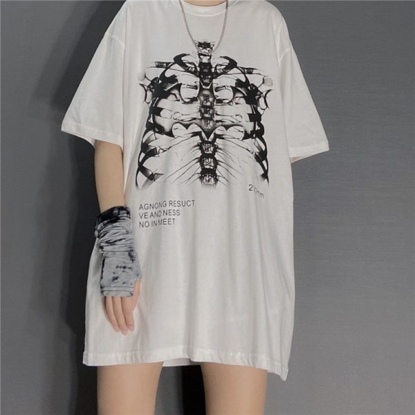 Gothic Punk E-girl Skeleton Print Funny T-shirt 2