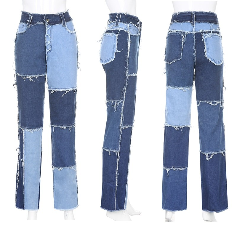 Y2K E-girl Aesthetic Cowboy Patchwork Jeans 47