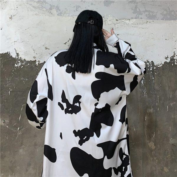 E-girl Harajuku Grunge Cow Print Loose Shirt 5