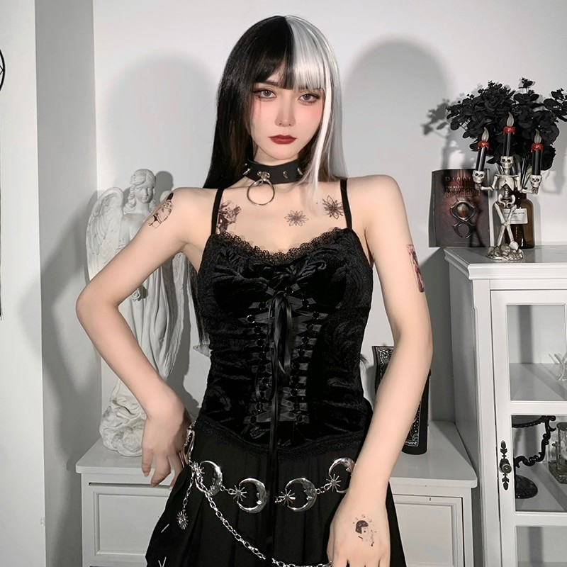 Pastel Gothic E-girl Y2K Velvet Crop Top with with lacing 44