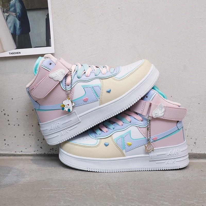 Soft Girl Harajuku Kawaii Aesthetic Autumn Winter High-Top Sneakers 57