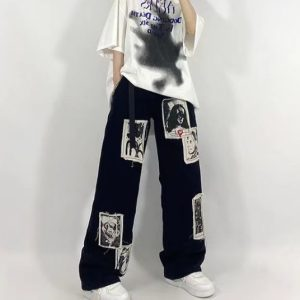 Grunge Punk E-girl Patchwork Black Oversize Jeans with Streetwear Print 9