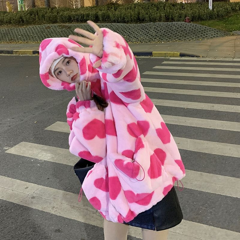 Harajuku Kawaii E-girl Heart Print Plush Jacket 43