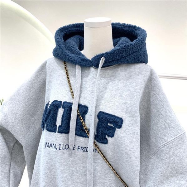 Harajuku E-girl Streetwear Thick Hoodies with Letters 14