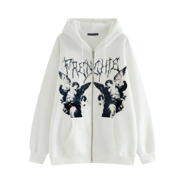 Harajuku E-girl Gothic Hoodies with Gothic VIntage Angel Print 7