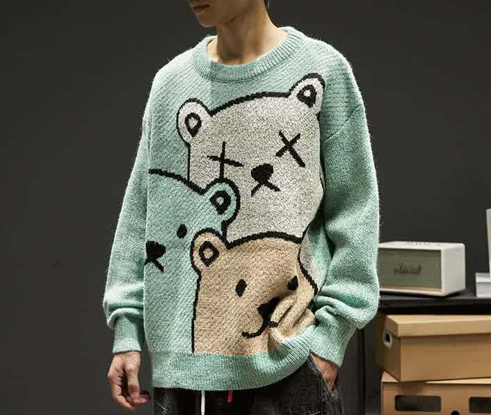 E-boy Harajuku Y2K Cartoon Bear Aesthetic Sweater 42