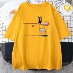 Kawaii E-girl Soft girl Pastel Gothic T-shirt with Cute Cat Not In Service Comics Printing 3