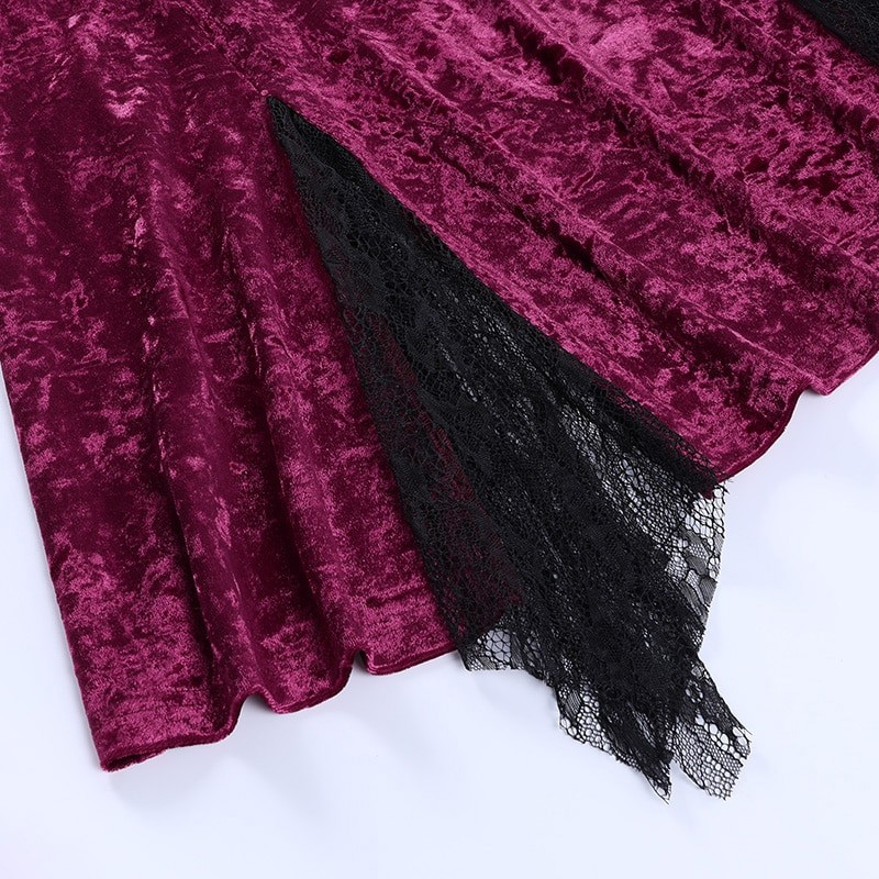 Aesthetic Gothic Egirl Grunge Vintage Velvet Mini Dresses 52