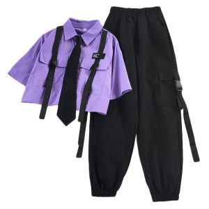 Harajuku Pastel Goth Punk Streetwear Set Cargo Pants and Short-Sleeved Shirt with Tie 1