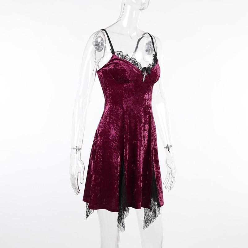 Aesthetic Gothic Egirl Grunge Vintage Velvet Mini Dresses 48