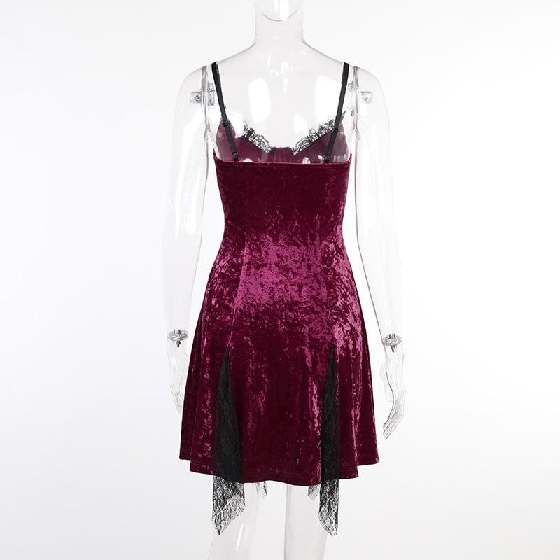 Aesthetic Gothic Egirl Grunge Vintage Velvet Mini Dresses 49