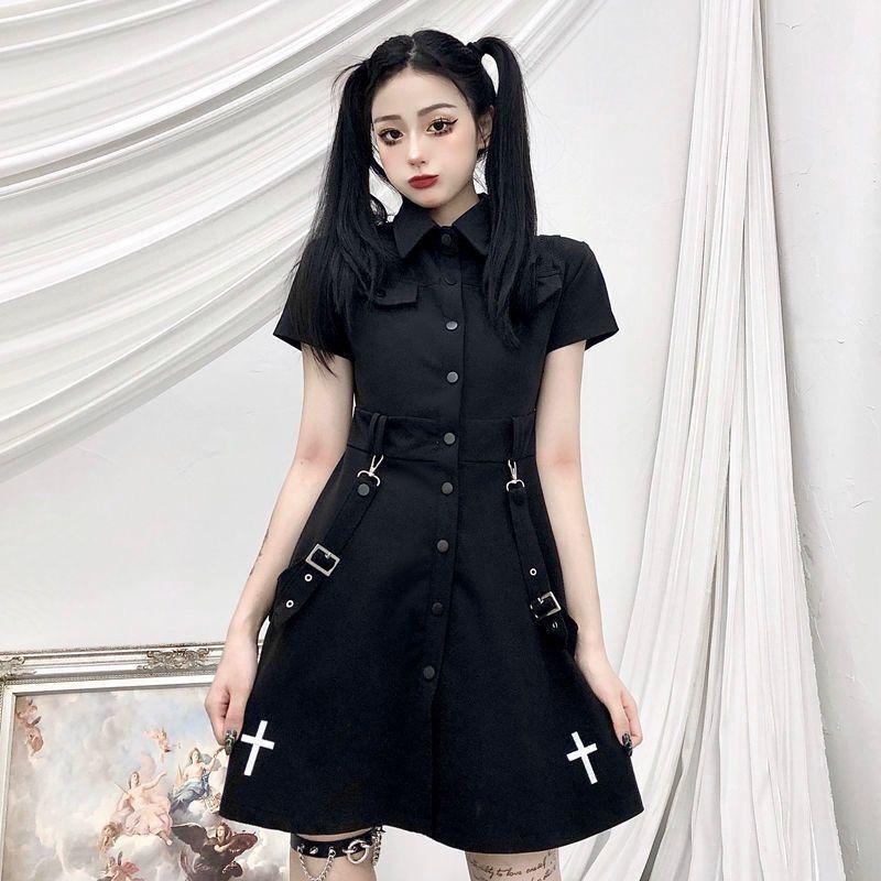 E-girl Pastel Goth Harajuku Dress with cross 50