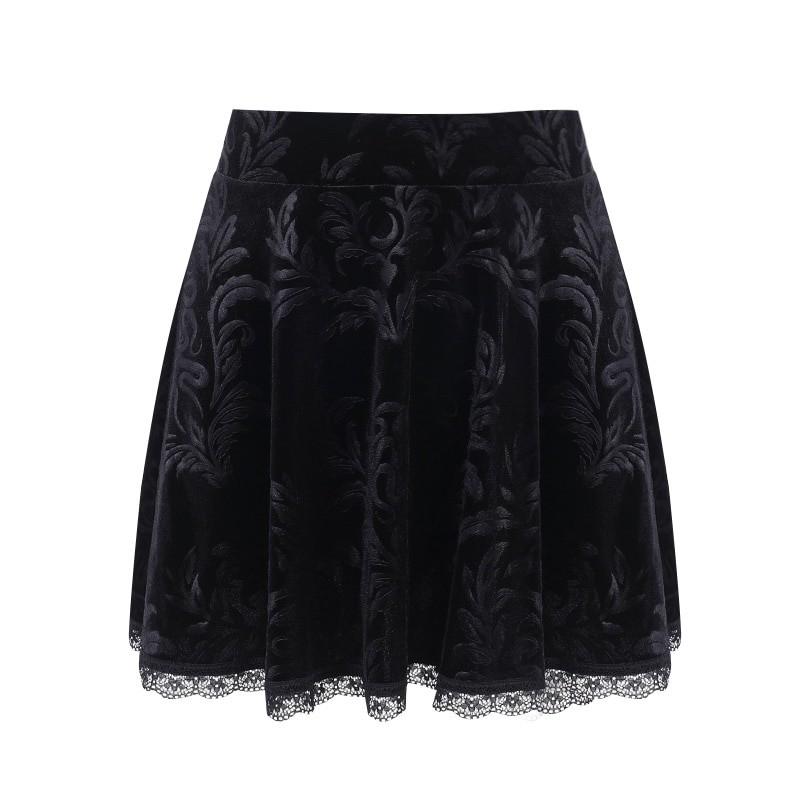 E-girl Pastel Gothic Velvet Skirt with Lace 55