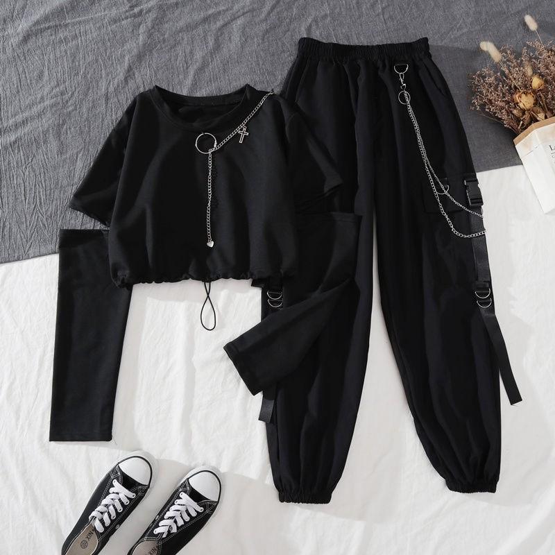 Alt Clothes Style Harajuku Set Cargo Pants and Swaetshirt 43