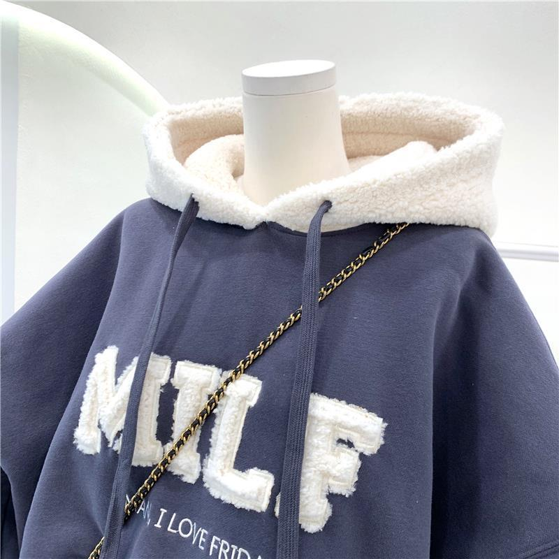 Harajuku E-girl Streetwear Thick Hoodies with Letters 50