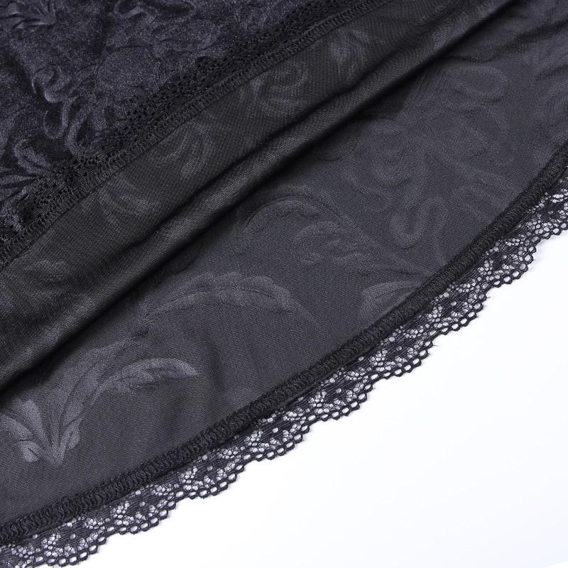 E-girl Pastel Gothic Velvet Skirt with Lace 49