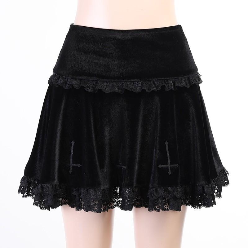 Aesthetic Pastel Gothic E-girl Velvet Mini Skirt with cross embroidery 41