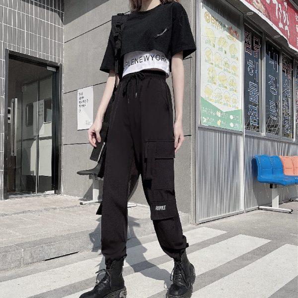 Harajuku Alt Clothes E-girl Streetwear 3 Pieces Set Cargo Pants Sweatshirt and Tank Top 5