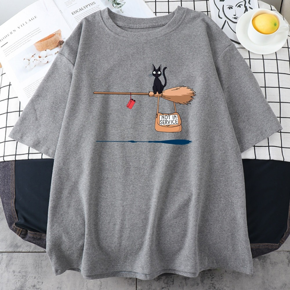 Kawaii E-girl Soft girl Pastel Gothic T-shirt with Cute Cat Not In Service Comics Printing 49
