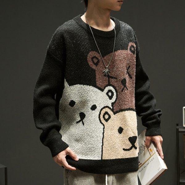 E-boy Harajuku Y2K Cartoon Bear Aesthetic Sweater 4