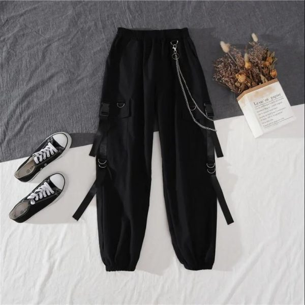 Alt Clothes Style Harajuku Set Cargo Pants with chain and Long Sleeve Swaetshirt 5