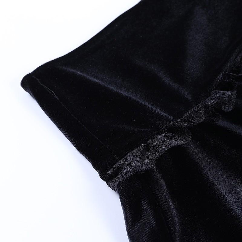 Aesthetic Pastel Gothic E-girl Velvet Mini Skirt with cross embroidery 46